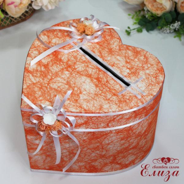 Сватбена кутия за пари в цвят праскова H17